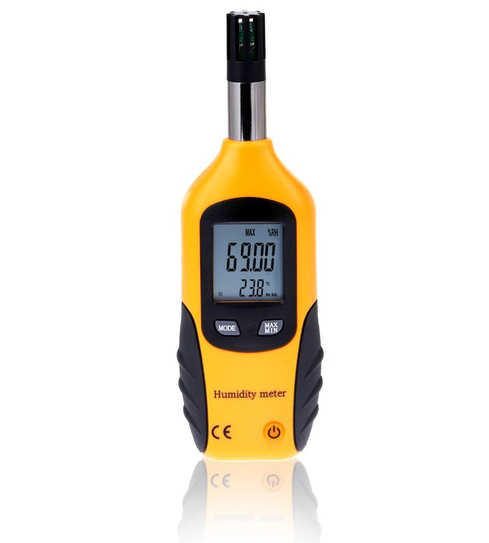 WT Meter - Digital Psychrometer and Portable Thermometer Hygrometer with LCD Monitor, Temperature Gauge and Humidity Meter, Professional Use, High Sensitive and Performance (Yellow) by WT Meter