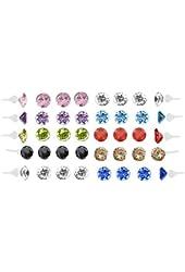 Earrings Lot Studs, Rhinestones Crystal 40 Pieces Earring Set Stud on Nylon Posts