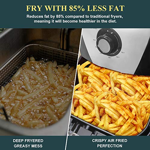 Secura Air Fryer 1700W Electric Hot Air Fryers Large 5.3Qt / 5L XL Air Fryer Oven Oil Free Cooker w/Additional Accessories, Recipes, BBQ Rack & Skewers for Frying, Roasting, Grilling, Baking (Silver)