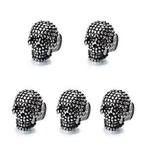 HAWSON Skull Black Cufflinks and Dress Shirt Studs Set for Tuxedo Party Accessories Gift