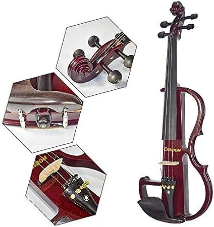 Black ENNBOM Beginner 4//4 Electric Violin Ebony Silent Violin Electric Violin Introductory Set