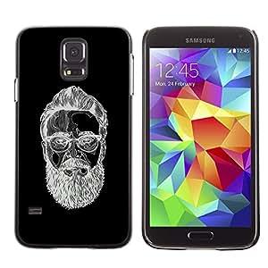 GOODTHINGS ( NO PARA S5 Mini ) Funda Imagen Diseño Carcasa Tapa Trasera Negro Cover Skin Case para Samsung Galaxy S5 SM-G900 - hombre con barba blanco bosquejo negro