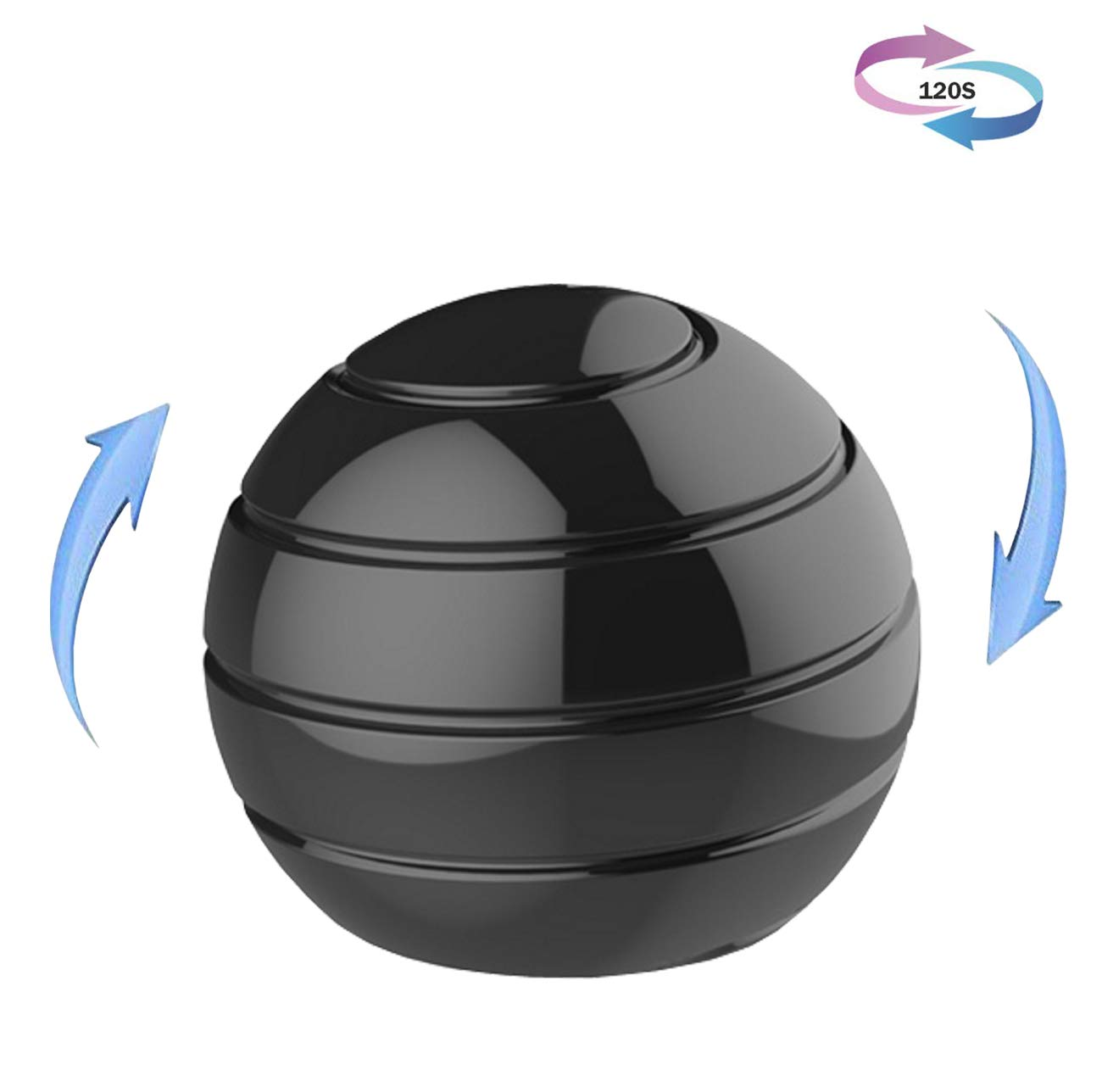 Kinetic Desk Stress Toy, Fidget Spinner Toys Ball for Adults Kids, Optical Illusion Metal Spinning Ball for ADHD & Anxiety Relief & Relaxing & Fucus Toys (Black)