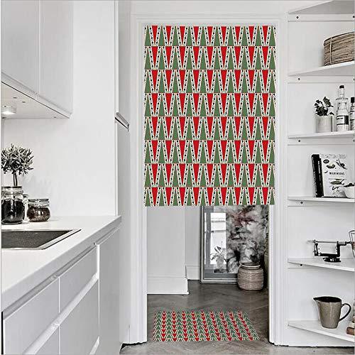 SCOCICI 3D Printed Linen Textured French 1 Panel Door Curtains 1pcs Doormat Kitchen Mat Rug,Motifs Polka Dots Abstract TreeSingle Panel Door Curtain 29.5
