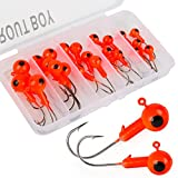 #6: TROUTBOY Round Jig Head, 25Pcs Ultrahead Bullet Jig Fishing Hook Jigheads Set, with Plastic Fishing Box, for Soft Bait Lure Freshwater Saltwater Fishing