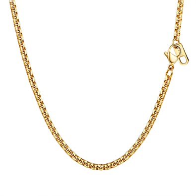 PROSTEEL Collar de Hombre de Acero Inoxidable Cadena Veneciana Cadena de Eslabones Cuadrados 3mm/6mm Ancho Box Chain Plateado/Dorado/Negro con Caja de ...