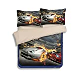 queen sheets cars - 3D Car Bedding Sets 100% Polyester - Sport Do Ultra Soft Cool Design Best Home Decor Fitted Sheet 4PC Queen
