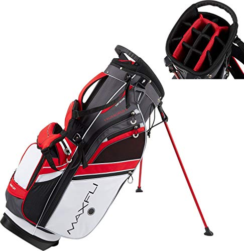 Maxfli 2019 Honors Plus Golf Stand Bag Lightweight 14-Way Top 3 Dividers w/Insulated Pocket & Cart Strap Channel (Black/Red/White)
