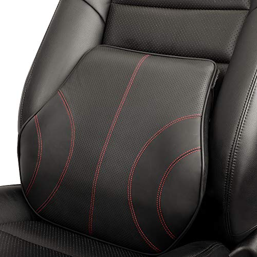 Aukee Genuine Leather Lumbar Support Cushion, Car Back Pillow with Memory Foam, Orthopedic Design...