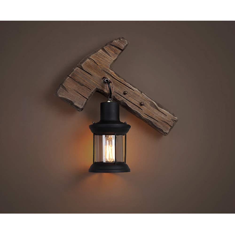 Vintage Holz Wall Light Antique American Countryside Industrial Lighting Laterne Sconces Home Retro Eisen Fixtur Wand-Lampe für Haus Loft Restaurant Bar Shop