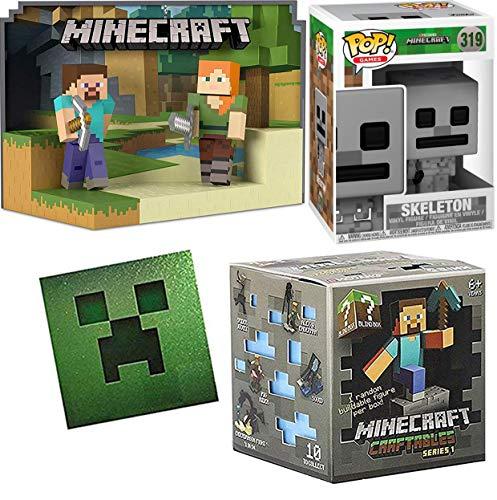 Funko Gray #319 Minecraft Skeleton Pop! Vinyl Bundled Mini Buildable Figure Craftables Blind Box Series 1 + Steve & Alex Figure Scene Game Bundle Creeper Sticker 4 Items -