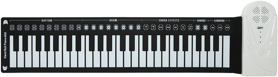 Lujex Piano plegable 49/61/88 teclas flexibles, digital, MIDI, teclado enrollable, Schwarz 49 Tasten
