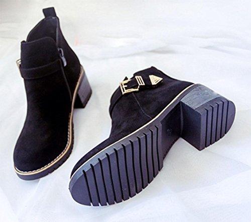 KUKI autumn women boots round Martin boots side zipper boots casual women boots black women boots , US6.5-7 / EU37 / UK4.5-5 / CN37