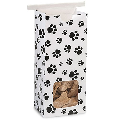 Sophie's Favors 1/2 Lb Paw Print Window Tin Tie Coffee Bags - 3 3/8in. X 2 1/2in. X 7 3/4in. - 100 Pieces