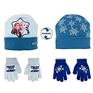 Girls Winter Hat and Glove Set, Frozen 2 Anna and Elsa Reversible Hat and 2 Pair Mitten or Glove, 2-7