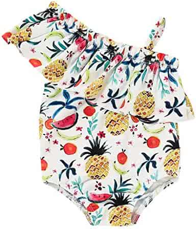 ef0cf6ce81f16 Baby Girls Swimsuit Bathing Suit Toddler/Newborn Swimwear Princess Ruffles Rashguard  One Off Shoulder Romper