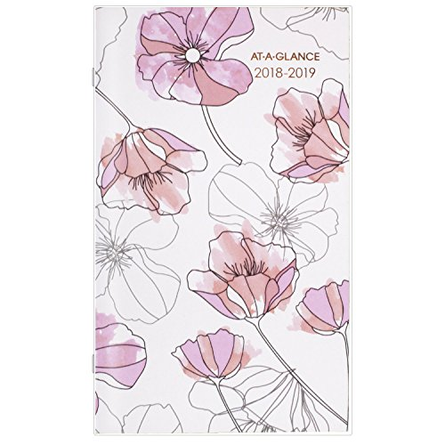 "AT-A-GLANCE Monthly Pocket Planner, January 2018 - January 2020, 3-5/8"" x 6-1/16"", 2 Year, Blush (1041-021)"