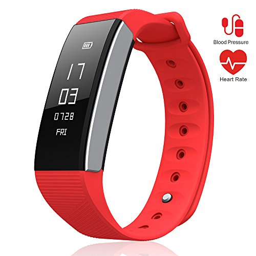 LePan Smart Fitness Tracker Heart Rate Monitor Wrist Watch Blood Pressure Health Activity Trackers GPS Rechargeable Battery Remote Control Smart Phone Camera Smart Watch Kids Men Women Girls Boys Red