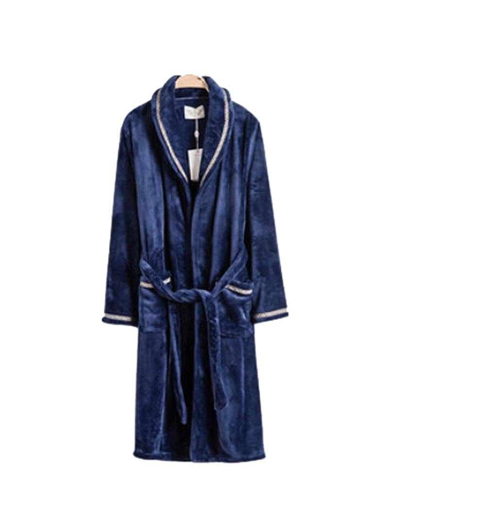 Km Men Autumn Leisur Thicken Long Flannel Pure Colour Bathrobe