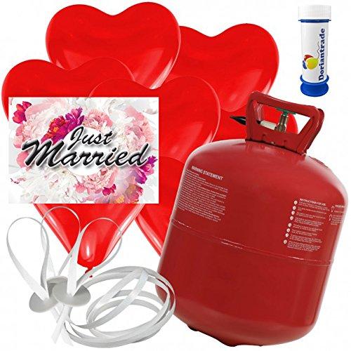 50 Herz Luftballons freie Farbwahl mit Helium Ballon Gas + 50 Weitflugkarten Just Married Blume + Gratis Doriantrade Seifenblasen 60 ml Hochzeit Valentinstag Komplettset (Rot)