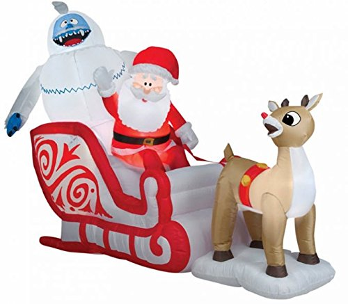 Santa Bumble The Abominable Snowman And Rudolph Pulling Santas Sleigh Would Make Perfect Addition To Your Christmas Outdoor Decorations
