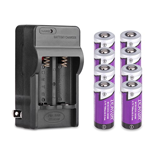 Zeasun 8 Pack 3.7V 700mAh 16340 CR123A Rechargeable Li-Ion Battery With Dual Channel 16340 Battery Charger