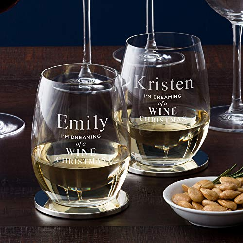 Personalized Luigi Bormioli Atelier Stemless Wine Glass, White Wine Glass with Engraving Included