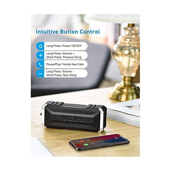VTIN Punker Enceinte Portables Bluetooth, 30 Heure Haut-Parleur Extérieur Sans Fil avec Son Stéréo 20W Fort, IPX5 Imperméable,Crochet Détachable Haut-Parleur Portable 5