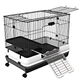 PawHut 32' H Metal 2-Level Rabbit Cage with Wheels, Indoor Small Animal Hutch Ferret House Habitat