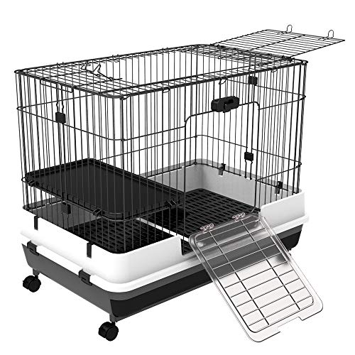 PawHut 32″L 2-Level Indoor Small Animal Rabbit Cage with Wheels – Black