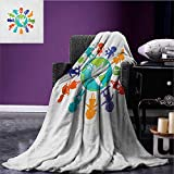 Youth waterproof blanket Cute Children Silhouettes around the World with Pigeon Symbol of Peace Earth Planet plush blanket Multicolor size:60''x80''