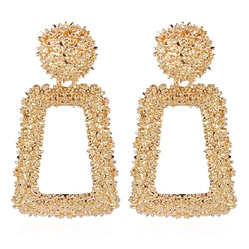 RENIKO Geometric Earrings for Women Square Dangle Pendant Vintage Exaggeration Big Square Hoop ()