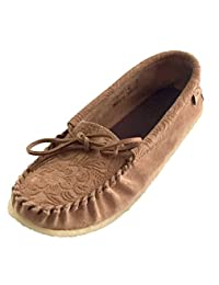 Laurentian Chief Women's Imperiale Floral Embossed Leather Moccasins