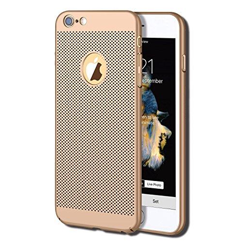 iPhone 6S Plus Case, iPhone 6 Plus Case, GOTITENI Stylish Ultra Slim Lightweight Case, Fingerprint Resistant Heat Losing Breathable Holes Snug Fit Cover for Apple iPhone 6 / 6S Plus, Gold