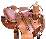 AceRugs Pink Ostrich Leather SEAT Western Barrel Racing Show Trail Horse Saddle TACK Bridle REINS Breastplate