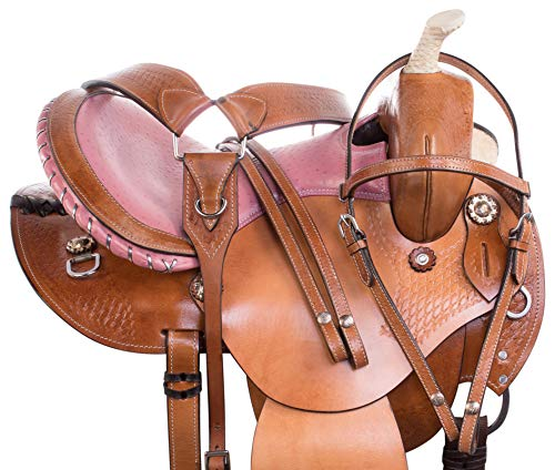 (AceRugs 14 15 16 Premium Leather Western Tooled Show Barrel Racing Trail Horse Saddle TACK Package (15))