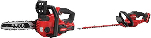 CRAFTSMAN CMCCS620M1 V20 12 Cordless Compact Chainsaw with CMCHTS820D1 V20 22 Cordless Hedge Trimmer