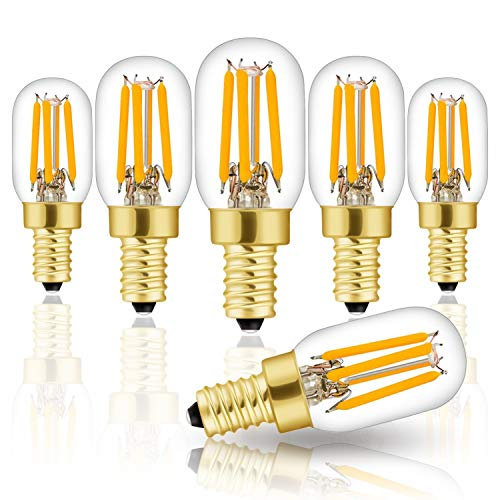 Hizashi 25 Watt EQV Himalayan Salt Lamp Light Bulbs LED Mini Bulbs E12 Candelabra Socket, High Brightness, 2700K Warm White, 6 Pack Dimmable Bulbs, UL Listed