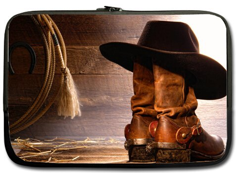 New American West Rodeo Cowboy Black Felt Hat Atop Worn W...