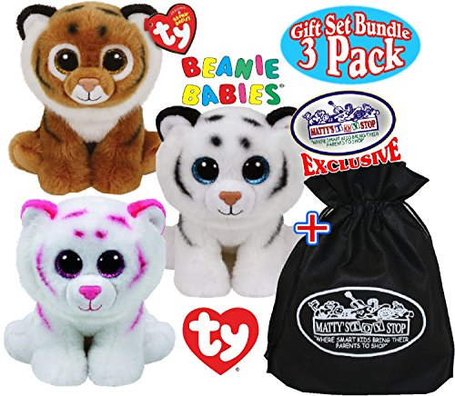 TY Beanie Babies ''Tigers'' Tundra, Tabor & Tiggs Gift Set Bundle with Bonus ''Matty's Toy Stop'' Storage Bag - 3 Pack by Ty Beanie Babies