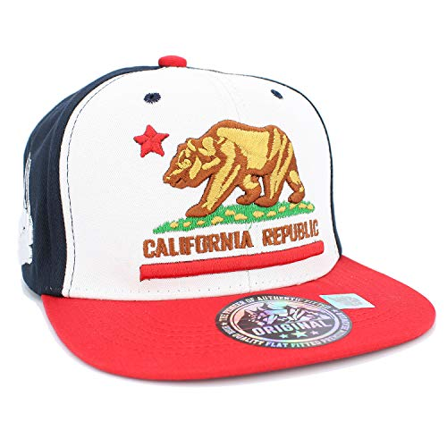 (Embroidered California Republic with Bear Claw Scratch Snapback Cap (Navy/White/RED/REDBAR))