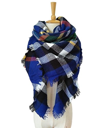 Tandisk Soft Warm Tartan Plaid Scarf Shawl Cape Blanket Scarves Fashion Wrap Blue