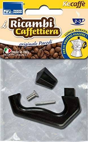 Parodi&Parodi 2-3 tazas Moka, compatibles con Bialetti y otras marcas, 1 mango de repuesto para cafetera, neutro…