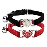 Chukchi Pink Soft Velvet Safe Cat Adjustable Collar with Crystal Heart Charm and Bells 8-11 Inches(Black+Red)