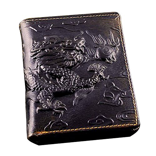 (Mens Brown Genuine Leather Wallet with Credit Card Holder Dragon Pattern (Vertical)