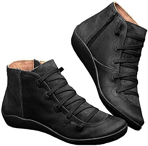 LeftCafei Women's Ankle Boots Fashion Lace up Side Zip Vintage Booties Flat Heel Arch Support Lug Tread Rubber Sole