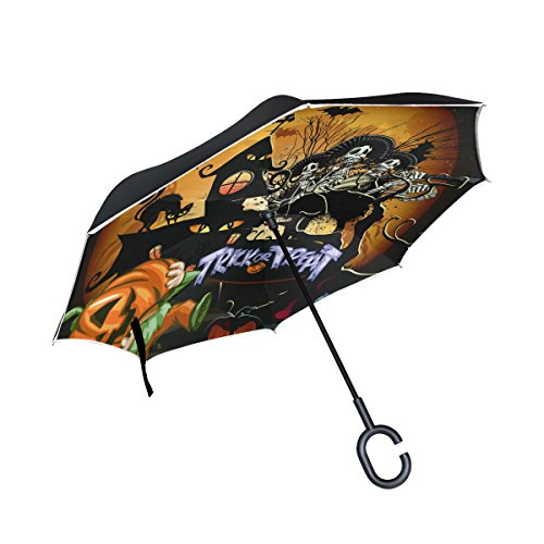 All'aperto Impermeabile Invertito Uso A Pioggia Halloween Per Layer Antivento Notte Inversione Dritto Manico Form Ombrello Double Ed Con Umbrella Uv Coosun Di L'automobile Protezione Grande qw67xFAnP