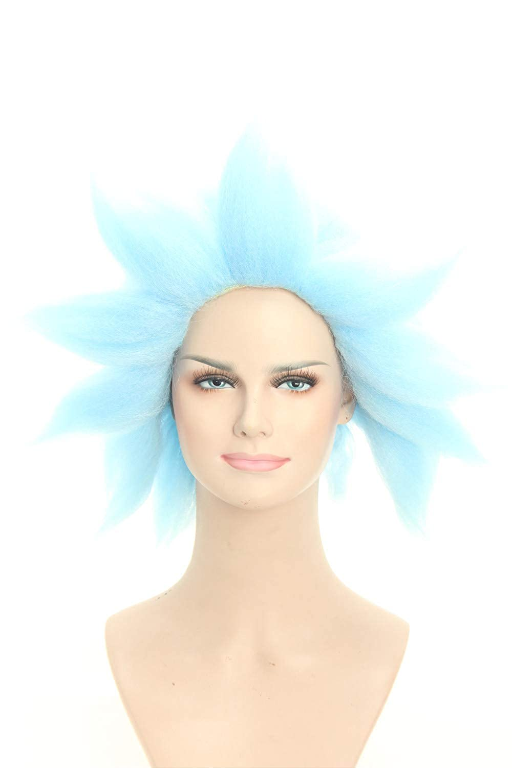 Weave Wigs Halloween Wig Spiky Light Blue Wig Cosplay Wig for Men and Women