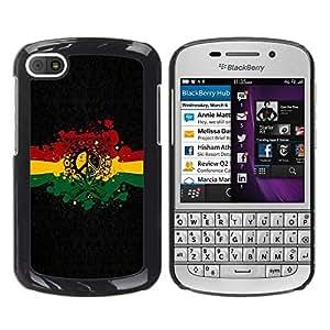 Be Good Phone Accessory // Dura Cáscara cubierta Protectora Caso Carcasa Funda de Protección para BlackBerry Q10 // Rasta Reggae Peace Sign