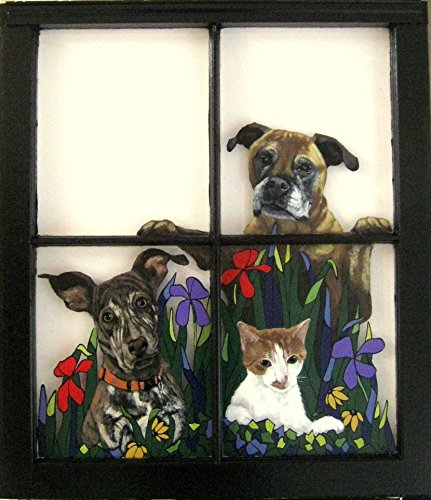 Dog Painting, Window Art, Cat, Animal , Glass, Vintage